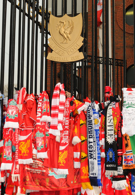 LIVERPOOL, ENGLAND - APRIL 15:  Tributes to the 96 adorn the Shankly Gates during the Hillsborough memorial service at Anfield on April 15, 2009, Liverpool, England. Thousands of fans, friends and relatives descended on Liverpool's Anfield Stadium to mark
