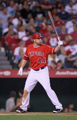 ANAHEIM, CA - JUNE 27:  Mark Trumbo #44 of the Los Angeles Angels of Anaheim bats against the Washington Nationals at Angel Stadium of Anaheim on June 27, 2011 in Anaheim, California.  (Photo by Jeff Gross/Getty Images)