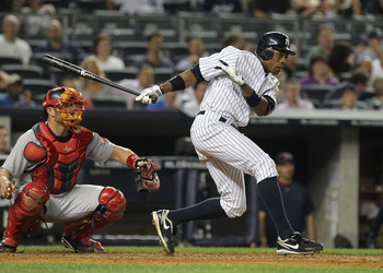 NEW YORK, NY - JUNE 08:  Curtis Granderson #14 of the New York Yankees in action during their game on June 7, 2011 at Yankee Stadium in the Bronx borough of New York City.  (Photo by Al Bello/Getty Images)