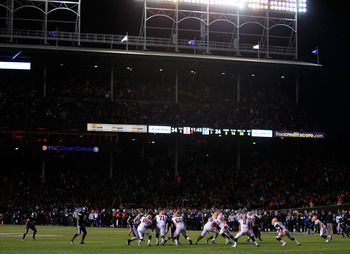 CHICAGO, IL - NOVEMBER 20: A general view as the Northwestern Wildcats take on the Illinois Fighting Illini during a game played at Wrigley Field on November 20, 2010 in Chicago, Illinois. Illinois defeated Northwestern 48-27. (Photo by Jonathan Daniel/Ge