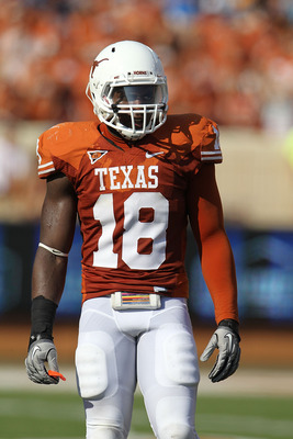 AUSTIN, TX - SEPTEMBER 25:  Linebacker Emmanuel Acho #18 of the Texas Longhorns at Darrell K Royal-Texas Memorial Stadium on September 25, 2010 in Austin, Texas.  (Photo by Ronald Martinez/Getty Images)