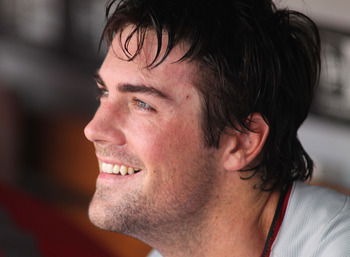 MIAMI GARDENS, FL - JULY 05:  Pitcher Cole Hamels #35 smiles against the Florida Marlins at Sun Life Stadium on July 5, 2011 in Miami Gardens, Florida.  (Photo by Marc Serota/Getty Images)