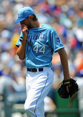 KANSAS CITY, MO - JUNE 26:  Luke Hochevar #44 of the Kansas City Royals walks off the mound after giving up runs in the fourth inning against the Chicago Cubs at Kauffman Stadium on June 26, 2011 in Kansas City, Missouri. (Photo by G. Newman Lowrance/Gett