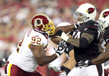 GLENDALE, AZ - SEPTEMBER 02:  Defensive tackle Albert Haynesworth #92 of the Washington Redskins in action during preseason NFL game against the Arizona Cardinals at the University of Phoenix Stadium on September 2, 2010 in Glendale, Arizona.  The Cardina