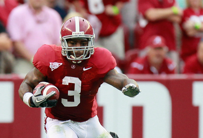 TUSCALOOSA, AL - SEPTEMBER 11:  Trent Richardson #3 of the Alabama Crimson Tide rushes against Devon Still #71 of the Penn State Nittany Lions at Bryant-Denny Stadium on September 11, 2010 in Tuscaloosa, Alabama.  (Photo by Kevin C. Cox/Getty Images)