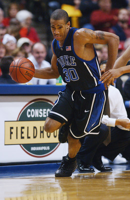INDIANAPOLIS - NOVEMBER 30:  Dahntay Jones #30 of the Duke University Blue Devils drives during the John R. Wooden Tradition against the UCLA Bruins at Conseco Fieldhouse on November 30, 2002 in Indianapolis, Indiana.  The Blue Devils won 84-73.  (Photo b