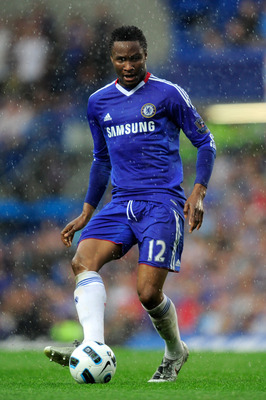 LONDON, ENGLAND - APRIL 23:  John Obi Mikel of Chelsea passes the ball during the Barclays Premier League match between Chelsea and West Ham United at Stamford Bridge on April 23, 2011 in London, England.  (Photo by Jamie McDonald/Getty Images)
