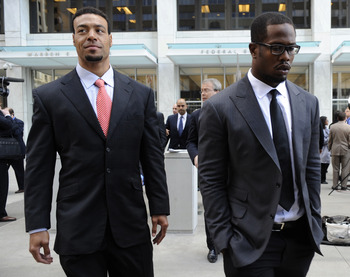 SAINT PAUL, MN - APRIL 6: Wide receiver Vincent Jackson (L) of the San Diego Chargers and linebacker Von Miller of Texas A&amp;M, who is entered in this year's NFL draft, leave following a hearing at the U.S. Courthouse on April 6, 2011 in Saint Paul, Minneso
