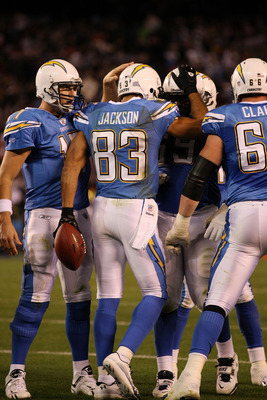 SAN DIEGO, CA - DECEMBER 16:  Wide receiver Vincent Jackson #83 of the San Diego Chargers celebrates with his teammates after scoring a touchdown in the second quarter against the San Francisco 49ers at Qualcomm Stadium on December 16, 2010 in San Diego, 