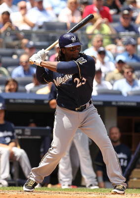 NEW YORK, NY - JUNE 30:  Rickie Weeks #23 of the Milwaukee Brewers in action against the New York Yankees during their game on June 30, 2011 at Yankee Stadium in the Bronx borough of New York City.  (Photo by Al Bello/Getty Images)