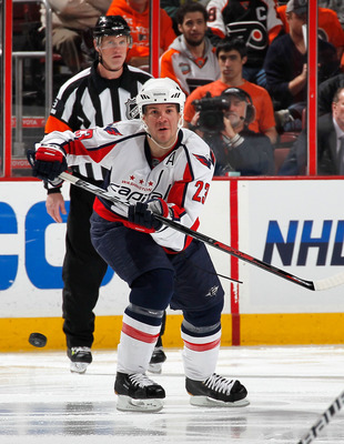 PHILADELPHIA, PA - MARCH 22:  Scott Hannan #23 of the Washington Capitals skates during an NHL hockey game against the Philadelphia Flyers at the Wells Fargo Center on March 22, 2011 in Philadelphia, Pennsylvania.  (Photo by Paul Bereswill/Getty Images)