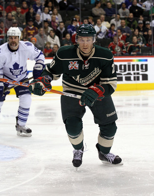 ST PAUL, MN - MARCH 22:  Antti Miettinen #20 of the Minnesota Wild skates against the Toronto Maple Leafs at the Xcel Energy Center on March 22, 2011 in St Paul, Minnesota.  (Photo by Bruce Bennett/Getty Images)