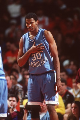 7 FEB 1995:  RASHEED WALLACE, CENTER FOR NORTH CAROLINA, SIGNALS TO HIS TEAMMATES DURING THEIR 86-73 LOSS TO MARYLAND AT COLE ARENA IN COLLEGE PARK, MARYLAND. Mandatory Credit: Doug Pensinger/ALLSPORT