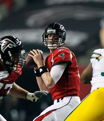 ATLANTA, GA - JANUARY 15:  Quarterback Matt Ryan #2 of the Atlanta Falcons looks to pass against the Green Bay Packers during their 2011 NFC divisional playoff game at Georgia Dome on January 15, 2011 in Atlanta, Georgia.  (Photo by Kevin C. Cox/Getty Ima