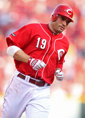 CINCINNATI, OH - JULY 02:  Joey Votto #19 of the Cincinnati Reds runs the bases after hitting a home run during the game against the Cleveland Indians at Great American Ball Park on July 2, 2011 in Cincinnati, Ohio.  The Indians won 3-1.  (Photo by Andy L