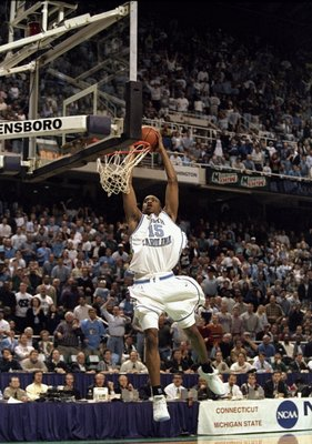 21 Mar 1998:  Guard Vince Carter of the North Carolina Tar Heels in action during an NCAA Tournament game against the Connecticut Huskies at the Greensboro Coliseum in Greensboro, North Carolina.  North Carolina defeated Connecticut 75-64. Mandatory Credi