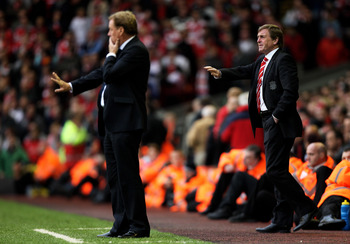 LIVERPOOL, ENGLAND - MAY 15:  Liverpool manager Kenny Dalglish (R) directs his players during the Barclays Premier League match between Liverpool and Tottenham Hotspur at Anfield on May 15, 2011 in Liverpool, England.  (Photo by Michael Steele/Getty Image