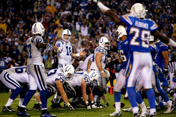 SAN DIEGO - NOVEMBER 11:  Quarterback Peyton Manning #18 of the Indianapolis Colts reacts to a false start penalty against while in their final drive against the San Diego Chargers during the final minutes of their NFL game on November 11, 2007 at Qualcom