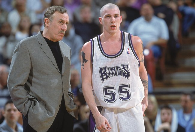 27 Mar 2001:  Head Coach Rick Adelman of the Sacramento Kings stands with Jason Williams #55 during the game against the New York Knicks at the Arco Arena in Sacramento, California. The Kings defeated the Knicks 124-117.  NOTE TO USER: It is expressly und