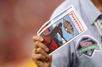 PHILADELPHIA - JUNE 7: An usher passes out All-Star Game ballots during a game between the Los Angeles Dodgers and the Philadelphia Phillies at Citizens Bank Park on June 7, 2011 in Philadelphia, Pennsylvania. The Dodgers won 6-2. (Photo by Hunter Martin/