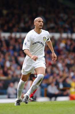 20 April 2002:  Rio Ferdinand of Leeds United in action during the FA Barclaycard Premiership match between Leeds United and Fulham played at Elland Road, in Leeds, England. Fulham won the match 1-0. DIGITAL IMAGE. (Photo by Shaun Botterill/Getty Images)