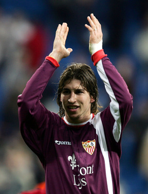MADRID, SPAIN - DECEMBER 22: Sevilla's Sergio Ramos salutes fans after beating Real Madrid 1-0 during the Primera Liga match between Real Madrid and Sevilla at the Bernabeu on December 22, 2004 in Madrid, Spain. (Photo by Denis Doyle/Getty Images)