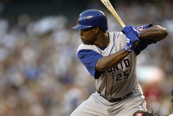 SEATTLE - AUGUST 13:  Carlos Delgado #35 of the Toronto Blue Jays bats against the Seattle Mariners during the game on August 13, 2003 at Safeco Field in Seattle, Washington.  The Mariners defeated the Blue Jays 13-6.  (Photo by Otto Greule Jr/Getty Image