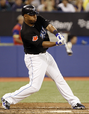 TORONTO - JUNE 6: Vernon Wells #10 of the Toronto Blue Jays hits a home run against the New York Yankees at the Rogers Centre June 6, 2010 in Toronto, Ontario, Canada. (Photo by Abelimages/Getty Images)