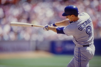 John Olerud of the Toronto Blue Jays. Mandatory Credit: Otto Greule Jr./ALLSPORT