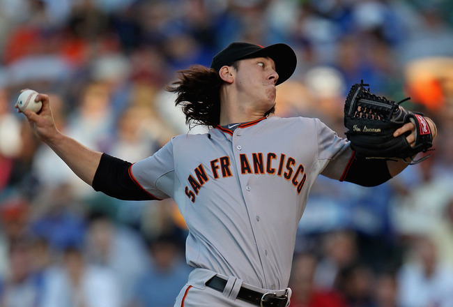 CHICAGO, IL - JUNE 29:  Starting pitcher Tim Lincecum #55 of the San Francisco Giants delivers the ball against the Chicago Cubs at Wrigley Field on June 29, 2011 in Chicago, Illinois.  (Photo by Jonathan Daniel/Getty Images)