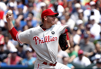 TORONTO, CANADA - JULY 2: Roy Halladay #34 of the Philadelphia Phillies throws a pitch against the Toronto Blue Jays during MLB action at The Rogers Centre July 2, 2011 in Toronto, Ontario, Canada. (Photo by Abelimages/Getty Images)