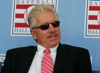 COOPERSTOWN, NY - JULY 30:  Hall of Famer Mike Schmidt waits for the start of the 2006 Baseball Hall of Fame induction ceremony at Clark Sports Center on July 30, 2006 in Cooperstown, New York.  (Photo by Jim McIsaac/Getty Images)