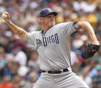 SEATTLE - JULY 03:  Starting pitcher Mat Latos #38 of the San Diego Padres pitches against the Seattle Mariners at Safeco Field on July 3, 2011 in Seattle, Washington. The Mariners defeated the Padres 3-1.  (Photo by Otto Greule Jr/Getty Images)