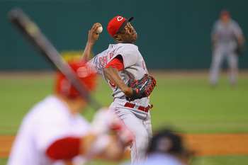 ST. LOUIS, MO - JULY 5: Reliever Aroldis Chapman #54 of the Cincinnati Reds pitches against the St. Louis Cardinals at Busch Stadium on July 5, 2011 in St. Louis, Missouri.  (Photo by Dilip Vishwanat/Getty Images)