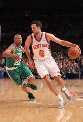 NEW YORK, NY - APRIL 22:  Landry Fields #6 of the New York Knicks drives against Ray Allen #20 of the Boston Celtics in Game Three of the Eastern Conference Quarterfinals in the 2011 NBA Playoffs on April 22, 2011 at Madison Square Garden in New York City