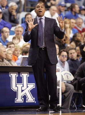 LEXINGTON, KY - MARCH 05:  Tubby Smith, the head coach of the Kentucky Wildcats, gives instructions to his team during the game against the Florida Gators during the Gators 79-64 win over the Wildcats on March 5, 2005 at Rupp Arena in Lexington, Kentucky.