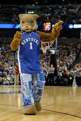 TAMPA, FL - MARCH 19:  The mascot for the Kentucky Wildcats performs against the West Virginia Mountaineers during the third round of the 2011 NCAA men's basketball tournament at St. Pete Times Forum on March 19, 2011 in Tampa, Florida. Kentucky won 71-63