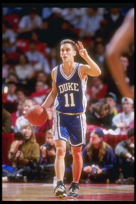30 Jan 1993:  Guard Bobby Hurley of the Duke Blue Devils moves the ball during a game against the Maryland Terrapins. Mandatory Credit: Doug Pensinger  /Allsport