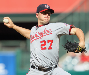 ANAHEIM, CA - JUNE 29:  Jordan Zimmerman #27 of the Washington Nationals pitches against the Los Angeles Angels of Anaheim at Angel Stadium of Anaheim on June 29, 2011 in Anaheim, California.  (Photo by Jeff Gross/Getty Images)