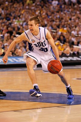 INDIANAPOLIS - APRIL 05:  Jon Scheyer #30 of the Duke Blue Devils drives in the second half against the Butler Bulldogs during the 2010 NCAA Division I Men's Basketball National Championship game at Lucas Oil Stadium on April 5, 2010 in Indianapolis, Indi