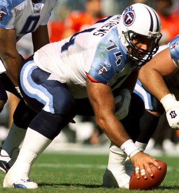 14 Oct 2001:  Bruce Matthews #74 of the Tennessee Titans prepares for a hand off to quarterback Steve McNair during the game against the Tampa Bay Buccaneers at Adelphia Coliseum in Nashville, Tennessee.  The Titans won in overtime 31-28. DIGITAL IMAGE. M
