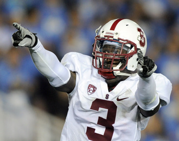 PASADENA, CA - SEPTEMBER 11:  Michael Thomas #3 of the Stanford celebrates his interception for a touchdwon and a 28-0 lead over UCLA at the Rose Bowl during the third quarter on September 11, 2010 in Pasadena, California.  (Photo by Harry How/Getty Image