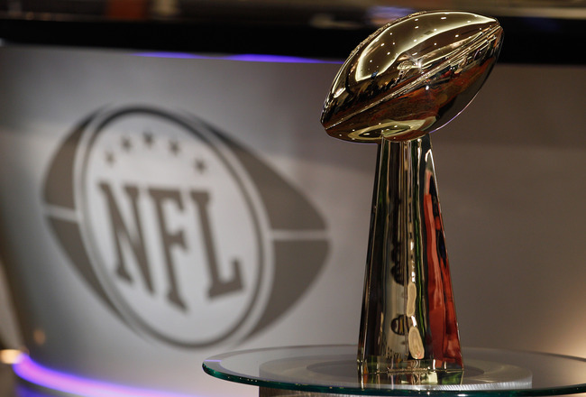 DALLAS, TX - FEBRUARY 02:  The Vince Lombardi Trophy is displayed on radio row on February 2, 2011 in Dallas, Texas. The Green Bay Packers will play the Pittsburgh Steelers in Super Bowl XLV on February 6, 2011 at Cowboys Stadium in Arlington, Texas.  (Ph
