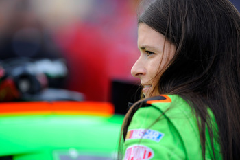 DAYTONA BEACH, FL - JULY 01:  Danica Patrick, driver of the #7 GoDaddy.com Chevrolet, looks on from the grid prior to the start of the NASCAR Nationwide Series Subway Jalapeno 250 Powered by Coca-Cola at Daytona International Speedway on July 1, 2011 in D