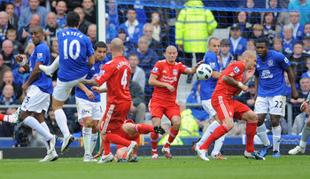 LIVERPOOL, ENGLAND - OCTOBER 17: Mikel Arteta of Everton scores to make it 2-0 during the Barclays Premier League match between Everton and Liverpool at Goodison Park on October 17, 2010 in Liverpool, England.  (Photo by Michael Regan/Getty Images)