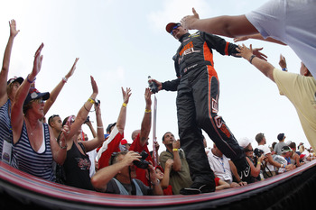 DAYTONA BEACH, FL - JULY 02:  Clint Bowyer, driver of the #33 Wheaties Fuel Chevrolet,  is introduced to the crowd during the NASCAR Sprint Cup Series Coke ZERO 400 Powered by Coca-Cola at Daytona International Speedway on July 2, 2011 in Daytona Beach, F