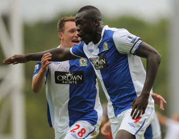 BLACKBURN, ENGLAND - SEPTEMBER 18:  Chris Samba of Blackburn celebrates scoring to make it 1-0 with team mate Phil Jones during the Barclays Premier League match between Blackburn Rovers and Fulham at Ewood park on September 18, 2010 in Blackburn, England
