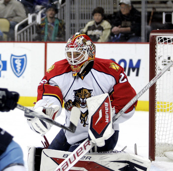 PITTSBURGH, PA - MARCH 27: Tomas Vokoun #29 of the Florida Panthers makes a save against the Pittsburgh Penguins at Consol Energy Center on March 27, 2011 in Pittsburgh, Pennsylvania. (Photo by Justin K. Aller/Getty Images)