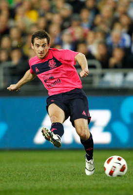 SYDNEY, AUSTRALIA - JULY 10: Leighton Baines of Everton shoots for goal during a pre-season friendly match between Sydney FC and Everton FC at ANZ Stadium on July 10, 2010 in Sydney, Australia.  (Photo by Brendon Thorne/Getty Images)