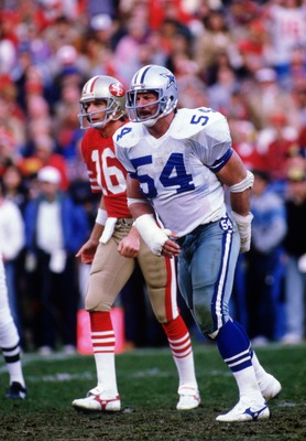Randy White #54 of the Dallas Cowboys waits for action during a 1985 game against the San Francisco 49ers.